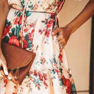 L'atiste | Pierre Floral Ruffle Pocketed Dress
